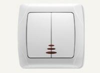 Ключ сериенен сх.5 светещ Кармен бял