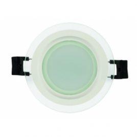 LED панел за вграждане стъклен кръг IP44, 2700K, 220V, 6W