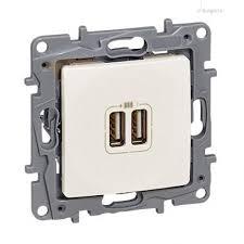 Двоен USB контакт, 2400мА, 5v за зареждане,Niloe, крем