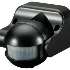 PIR сензор за движение за открит монтаж черен, 12м, IP44, 180 градуса