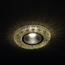 Луна стъклена хром с вграден 3W LED, MR16, GU5.3, PALACE-10