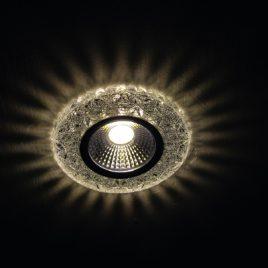 Луна стъклена хром с вргаден 3W LED, GU5.3, MR16, PALACE-11