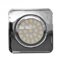 Мебелна LED луна за вграждане квадрат никел, 12V/DC, 4200K, IP44, 3W