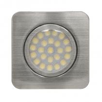 Мебелна LED луна за вграждане квадрат сатиниран никел, 12V/DC, 4200K, IP44, 3W