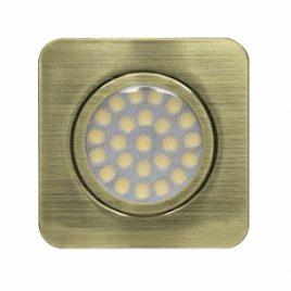 Мебелна LED луна за вграждане квадрат сатиниран месинг, 12V/DC, 4200K, IP44, 3W