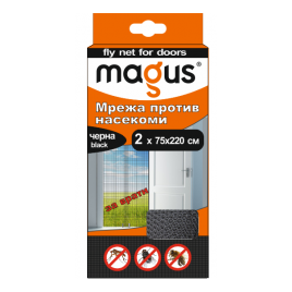 Мрежа срещу насекоми за врати, 1.4м х 2.2м, черна, Магус