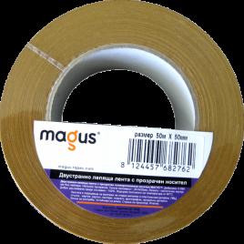 Двустранна монтажна лента с тънък прозрачен носител Magus, 50м/12мм