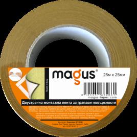 Двустранна монтажна лента за грапави повърхности Magus, 25м/25мм