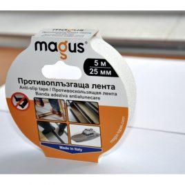 Противоплъзгаща самозалепваща лента MAGUS™, бяла, 5м/25мм