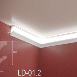 LD-01.2. Декоративен XPS корниз за LED осветление, 110х45мм, 2м