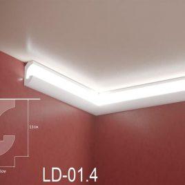 LD-01.4. Декоративен XPS корниз за LED осветление, 110х45мм, 2м