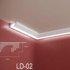 LD-02. Декоративен XPS корниз за LED осветление, 110х45мм, 2м