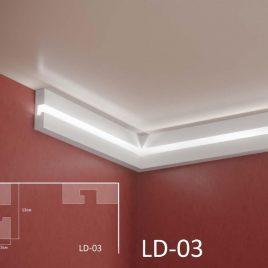 LD-03. Декоративен XPS корниз за LED осветление, 130х45мм, 2м