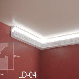 LD-04. Декоративен XPS корниз за LED осветление, 115х55мм, 2м
