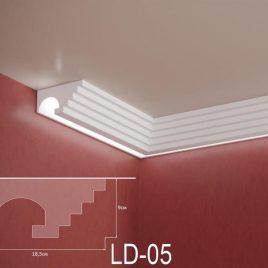 LD-05. Декоративен XPS корниз за LED осветление, 185х90мм, 2м