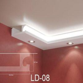 LD-08. Декоративен XPS корниз за LED осветление, 185х87мм, 2м