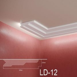 LD-12. Декоративен XPS корниз за LED осветление, 190х36мм, 2м