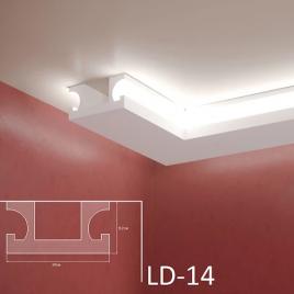 LD-14. Декоративен XPS корниз за LED осветление, 190х97мм, 2м