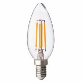 LED крушка FILAMENT, конус, димираща, прозрачна, E14, 220V, 4200K, 4W