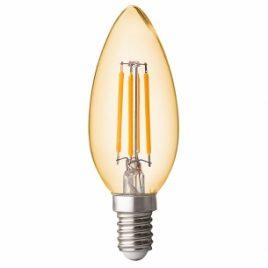 LED крушка FILAMENT, конус, димираща, опушена, E14, 220V, 2500K, 4W