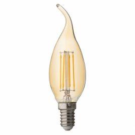 LED крушка FILAMENT, пламък, димираща, опушена, E14, 220V, 2500K, 4W