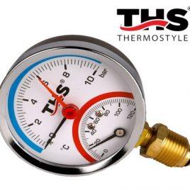 Термоманометър радиален ф80, 1/2″. 0-120гр., 0-10bar