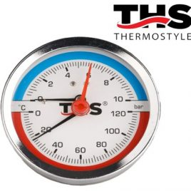 Термоманометър аксиален ф80, 1/2″. 0-120гр., 0-10bar