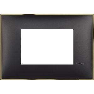 Декоративна рамка италиански стандарт 3 модула, черно със златно