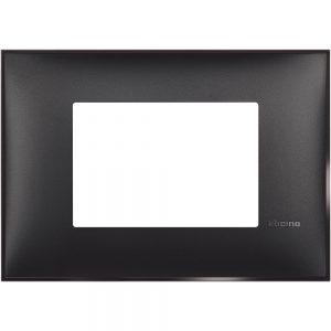 Декоративна рамка италиански стандарт 3 модула, черен сатен