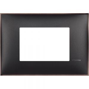 Декоративна рамка италиански стандарт 3 модула, черно със никел