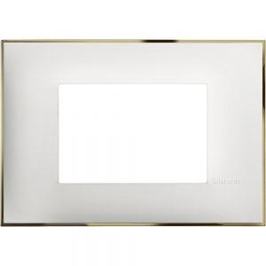 Декоративна рамка италиански стандарт 3 модула, бяло със златно