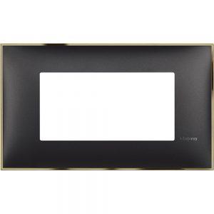 Декоративна рамка италиански стандарт 4 модула, черно със златно