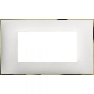 Декоративна рамка италиански стандарт 4 модула, бяло със златно