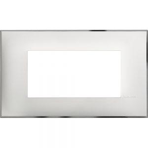 Декоративна рамка италиански стандарт 4 модула, бяло със хром