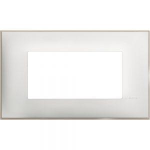 Декоративна рамка италиански стандарт 4 модула, бял сатен