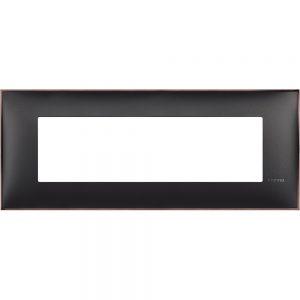 Декоративна рамка италиански стандарт 7 модула, черно със никел
