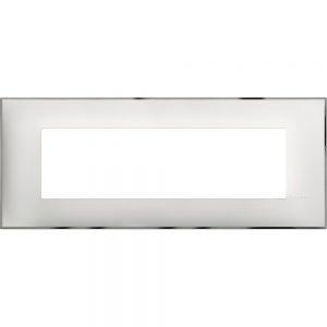 Декоративна рамка италиански стандарт 7 модула, бяло със хром