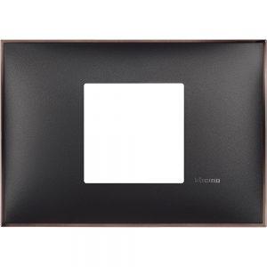 Декоративна рамка италиански стандарт 2 модула, черно със никел