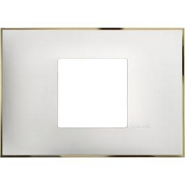 Декоративна рамка италиански стандарт 2 модула, бяло със златно