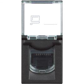 Компютърна розетка RJ45, UTP cat.5e, 1модул, черен