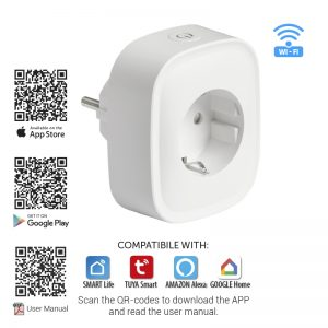 WIFI Smart контакт, единиченен, 16A, 3500W, 220-240V AC