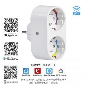 WIFI Smart контакт, двоен, 16A, 3500W, 220-240V AC