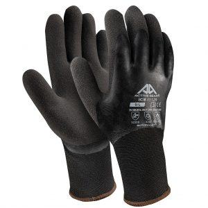 Ръкавици акрилно букле, черно-оранжев латекс(1)+пясъчен черен латекс Active ICE I1130, 10/XL размер
