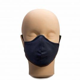 Многократна маска за лице от два слоя памук, тъмно синя