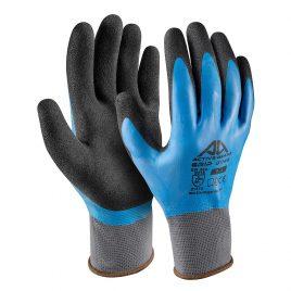 Ръкавици полиестер, гладък син латекс(1) + пясъчен черен латекс(2), Active GRIP G1150, 10/XL размер
