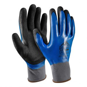 Ръкавици полиестер, гладък син нитрил(1)-пясъчен черен нитрил(2), Active GRIP G3250, 10/XL размер