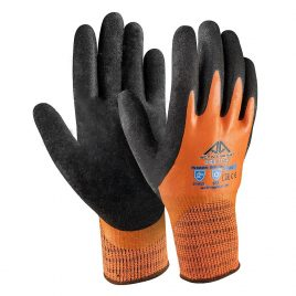 Ръкавици полар, гладък оранжев латекс(1)+пясъчен черен латекс(2) Active ICE I1110, 10/XL размер