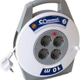 Мaкара в кутия бяла 10м  IP20 H05VV-F 3G1mm2 термична защита 4 шуко Commel