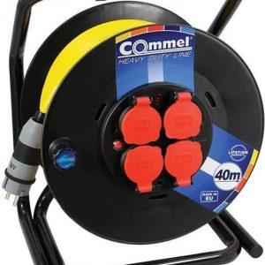 Макара черна 30м IP44 AT N07V3V3-F 3G1.5mm2 жълт термична защита 4 шуко квадратна рамка Commel