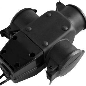 Куплунг 3 х шуко с капак Т-образен IP44 16А гумиран Commel